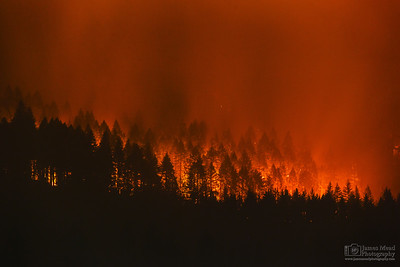 """Eagle Creek Wildfire at Eagle Creek 200mm,"" Cascade Locks, Columbia River Gorge, Oregon"
