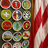 Joe Cardinel, 18, of Troop 477 in Leominster has finished his Eagle Scout project which was compiling a list of all the Leominster veterans to have been killed in action and writing brief biographies on them, which has since been added to the local veterans website. This is just some of the merit badges he has gotten over his years in the troop. SENTINEL & ENTERPRISE/JOHN LOVE