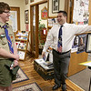 Joe Cardinel, 18, of Troop 477 in Leominster has finished his Eagle Scout project which was compiling a list of all the Leominster veterans to have been killed in action and writing brief biographies on them, which has since been added to the local veterans website. Cardinel talks with veteran's agent Richard Voutour about his project on Tuesday afternoon. SENTINEL & ENTERPRISE/JOHN LOVE