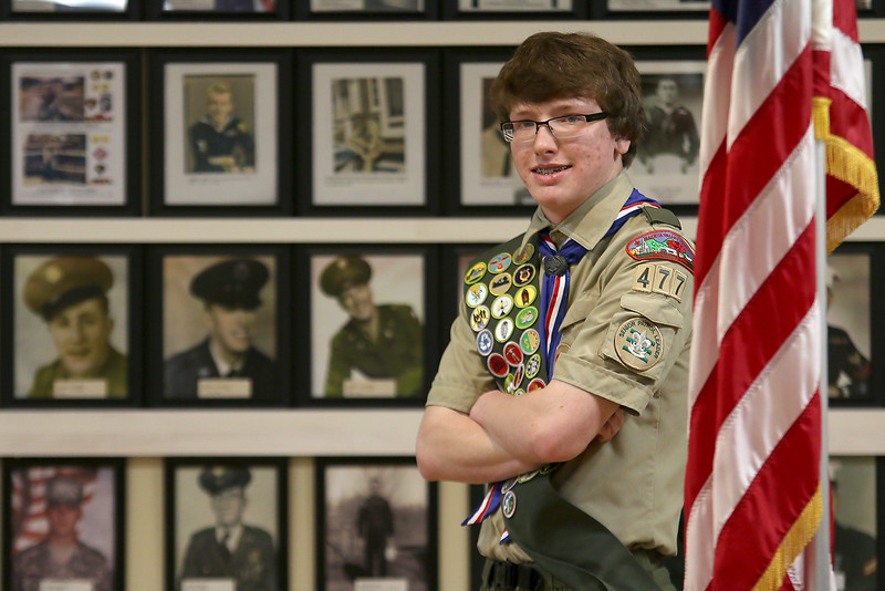 Joe Cardinel of Troop 477 in Leominster has finished his Eagle Scout project which was compiling a list of all the Leominster veterans to have been killed in action and writing brief biographies on them, which has since been added to the local veterans website. SENTINEL & ENTERPRISE/JOHN LOVE