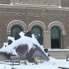 Jo Duran sent us this photo of a snow-covered Wally the Stegosaurus at the Berkshire Museum in Pittsfield.