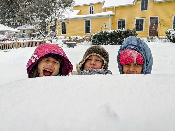 """Sopheap Nhim sent us this photo of """"excited kids"""" enjoying a snow day."""
