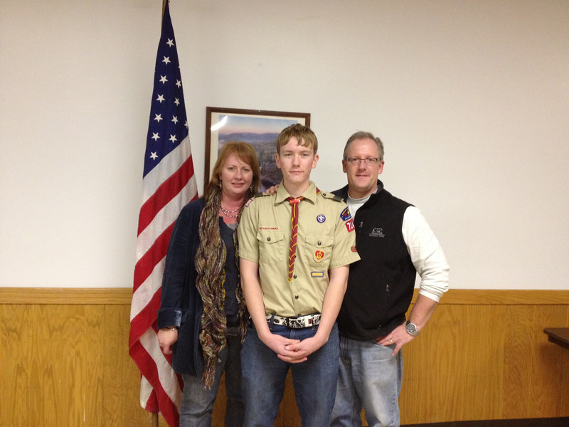 Connor Winters with his parents, Lynn and Scott Winters.