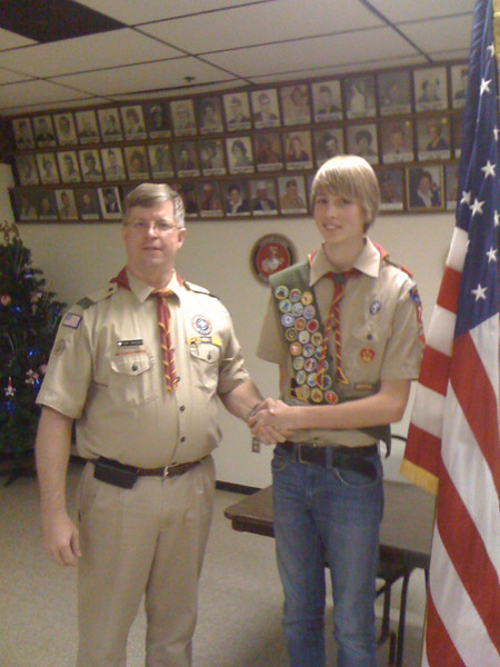Eric had his Eagle Board of Review on January 12, 2011, and received his Eagle Award. (Tony Swenson - Scout Master and Eric Bystrom)