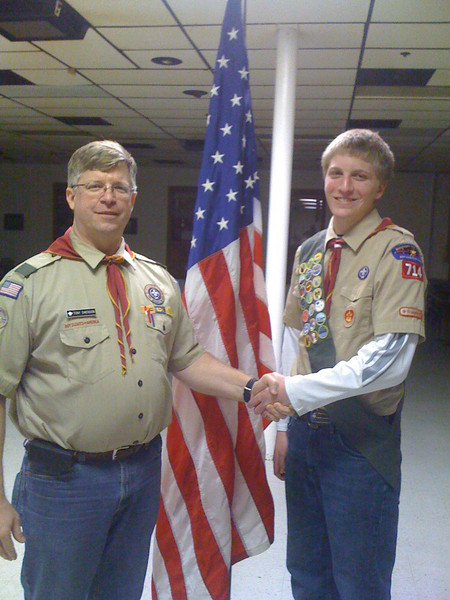 Jon had his Eagle Board of Review on March 1, 2011, and received his Eagle Award. Photo with Tony Swenson (Scout Master for Troop 714)