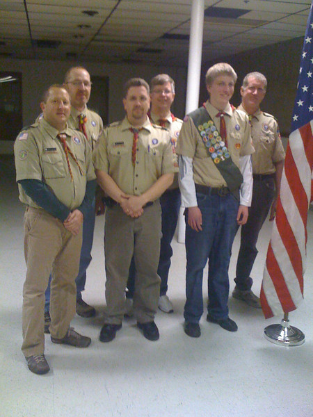 Jon had his Eagle Board of Review on March 1, 2011, and received his Eagle Award. Front Row: From Left to Right (Andy Allen, Greg Kettering, Jon Anderson) Back Row: From Left to Right (Bruce Fiedler, Tony Swenson, and Doug Schenkel)