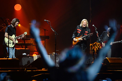 A fan sings along as the Eagles Deacon Frey (left, son of the late Glenn Frey) and Joe Walsh perform Wednesday, September 12, 2018 during the first of three shows at The Forum in Inglewood this week. (Photo by Will Lester, Inland Valley Daily Bulletin/SCNG)