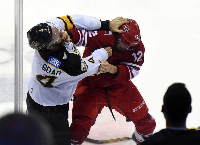 Colorado Eagles #4 Michael Sdao and Allen Americans #12 Gary Steffes get in a scuffle during their game on Wednesday, Nov. 9, 2016, at the Budweiser Event Center in Loveland. (Photo by Jenny Sparks/Loveland Reporter-Herald)