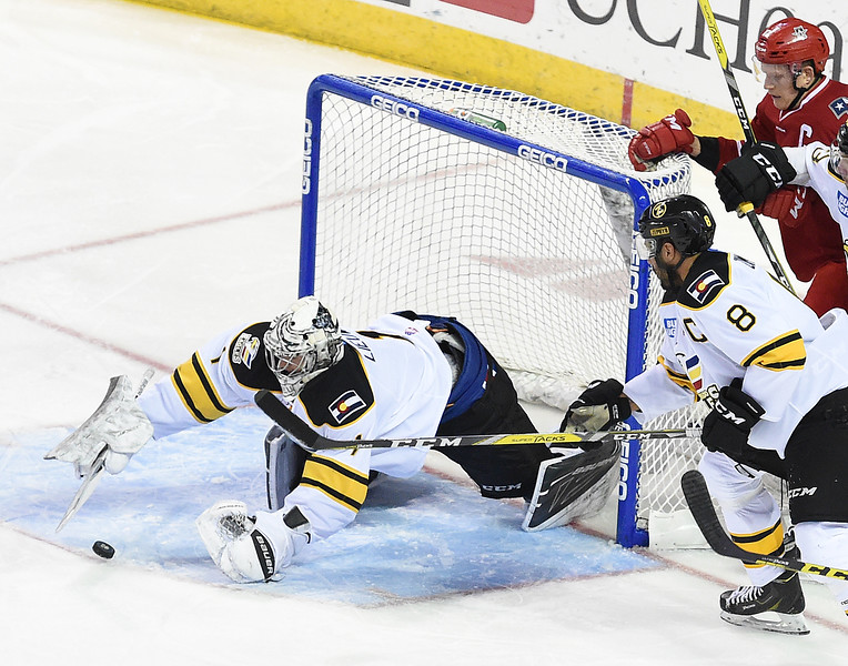 Colorado Eagles goalie #1 Nathan Lieuwen blocks a shot during their game against the Allen Americans on Wednesday, Nov. 9, 2016, at the Budweiser Event Center in Loveland. (Photo by Jenny Sparks/Loveland Reporter-Herald)