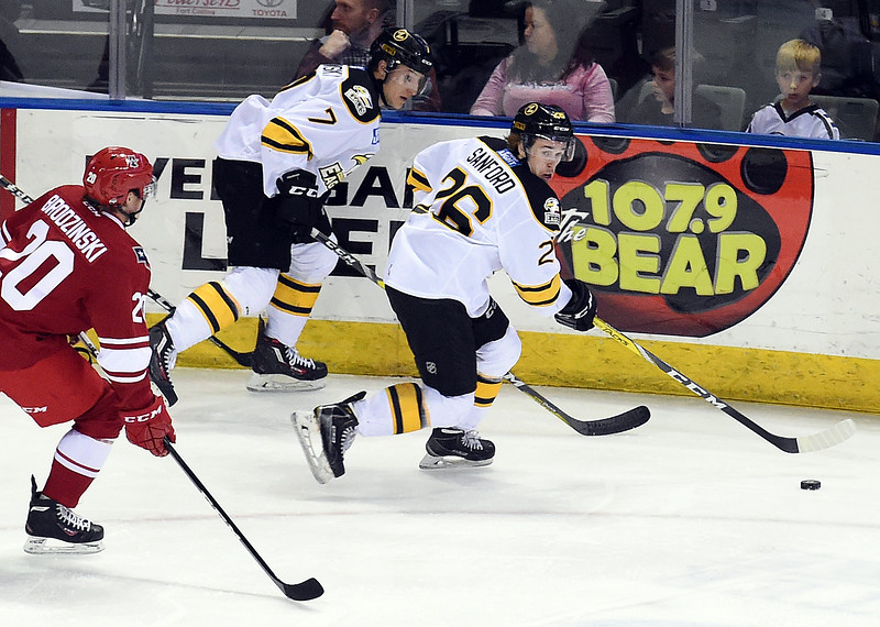 Colorado Eagles #26 Cole Sanford moves the puck down the ice during their game against Allen Americans on Wednesday, Nov. 9, 2016, at the Budweiser Event Center in Loveland. (Photo by Jenny Sparks/Loveland Reporter-Herald)