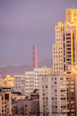 Near dawn view of the Golden Gate from downtown.