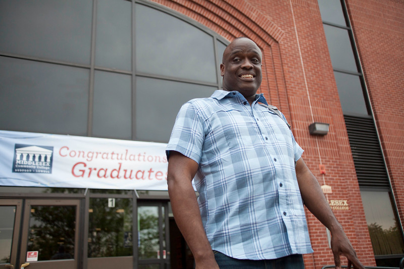 Earl Williams, 45, in front of Middlesex Community College in Lowell, will be a student speaker at Thursday's graduation. Sun/Chris Lisinski