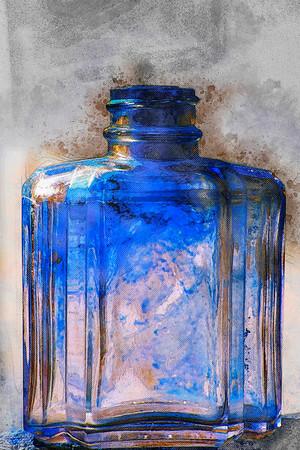bottle of blue ...