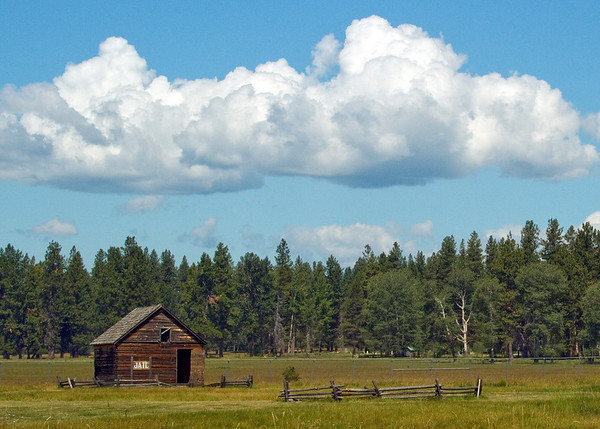 fort klamath, oregon -- was a military outpost near the western end of the oregon trail; established in 1863 and consisted of more than 50 buildings, including a sawmill.  it was abandoned in 1889. soldiers were stationed here for protection of settlers and travelers