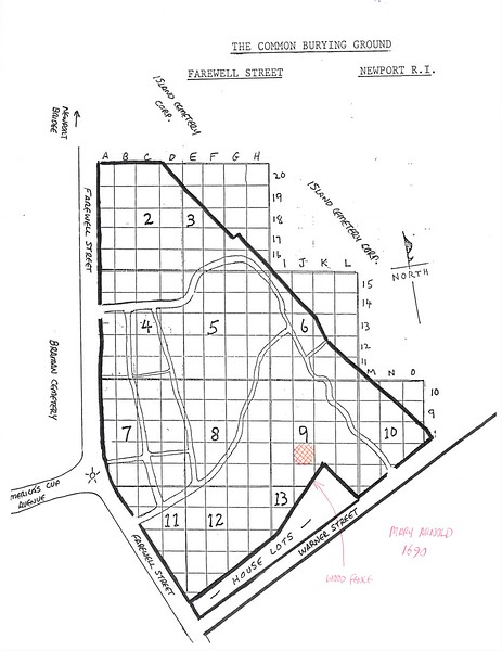 Location of Mary Turner Arnold's gravestone in Common Burying Ground (within the red cross-hatched area just below the number 9.)