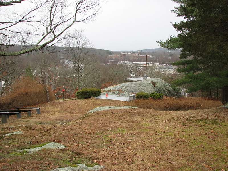 Atop the hill, looking toward the viewpoint. The church occasionally holds outdoor services here.