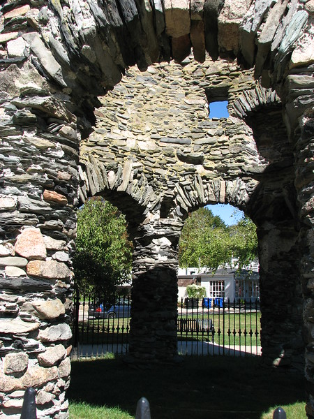 Masonry walls of the tower, looking into one of the arched openings