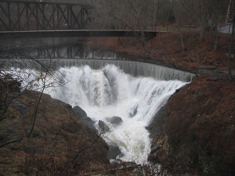 View of the falls, showing the footbridge
