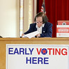 Early voting for the 2016 presidential election started on Monday. On Tuesday it was still going strong in North Central Massachusetts. Checking the voters in was Greeter Doris DeCicco at Leominster City Hall. SENTINEL & ENTERPRISE/JOHN LOVE