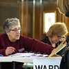 Early voting for the 2016 presidential election started on Monday. On Tuesday it was still going strong in North Central Massachusetts. Clerk for Ward 4 Louise DiPalma gives voters their ballots at Leominster City Hall. SENTINEL & ENTERPRISE/JOHN LOVE