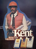 Kent--It's the taste - hardhat worker gripping stomach