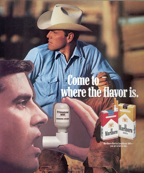 Marlboro Man with Asthma Inhaler - Come to where the flavor is