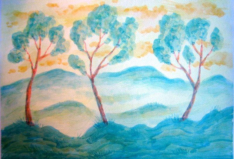 Trees in Sunny Weather II (watercolor)