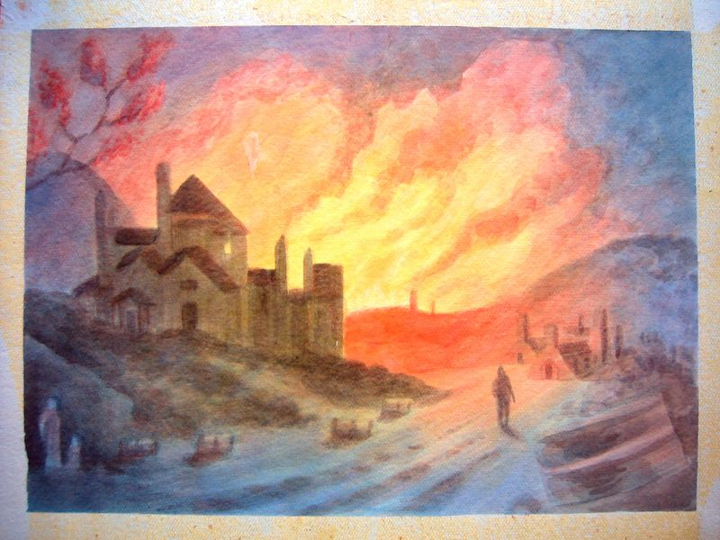 Coalbrook, England after --- (watercolor)
