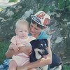 14 months, June 1989 with Cousin Curtis & Barney under the sycamore tree.