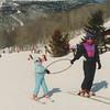 Learning to ski, VT 1992. Casey & mom.