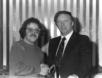 Mike Harding and Arthur Scargill, 1978.