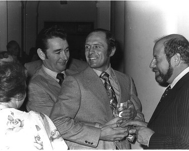 Brian Clough, Geoff Boycott, Clement Freud, 1977.