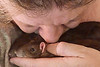 This human thinks kissing is just plain affection, but the rat thinks -- ? What is kiss-grooming really saying to Bonny and Chancy? It's clearly some sort of grooming, and communicating something.