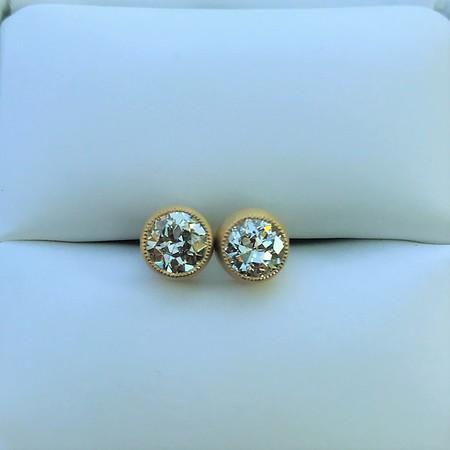 1.02ctw Old European Cut Diamond Bezel Earrings