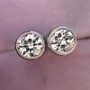 1.05ctw Transitional Cut Diamond Bezel Earrings, Platinum 1