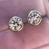 1.05ctw Transitional Cut Diamond Bezel Earrings, Platinum 7