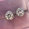 1.05ctw Transitional Cut Diamond Bezel Earrings, Platinum 6