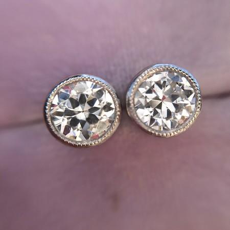 1.05ctw Transitional Cut Diamond Bezel Earrings