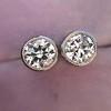 1.05ctw Transitional Cut Diamond Bezel Earrings, Platinum 0