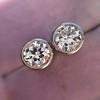 1.05ctw Transitional Cut Diamond Bezel Earrings, Platinum 5