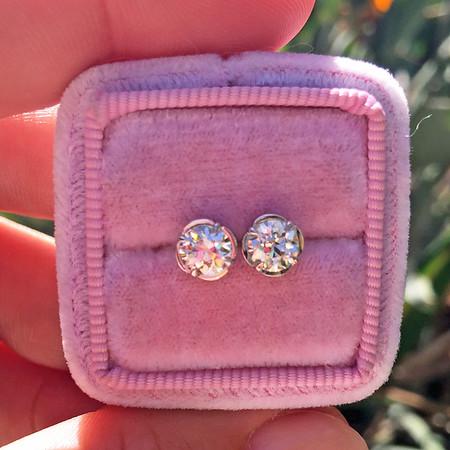 1.08ctw Old European Cut Diamond Stud Earrings, Clover Settings