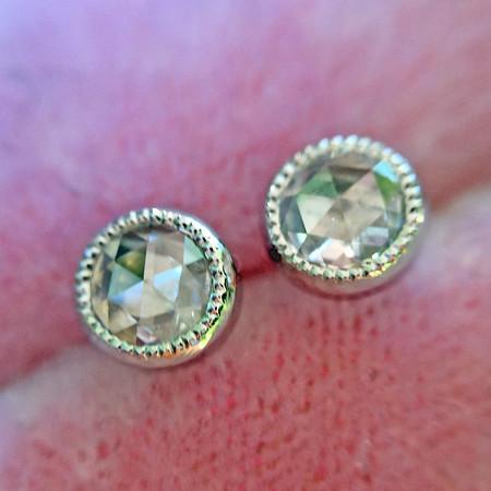 .10ctw Rose Cut Diamond Bezel Earrings, Platinum