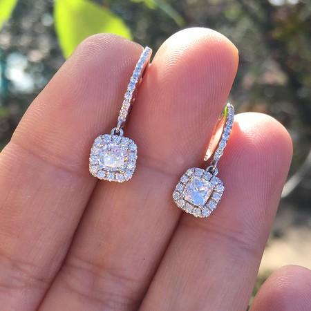 1.10ctw Cushion Cut Diamond Dangle Earrings