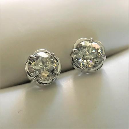 1.10ctw Old European Cut Diamond Clover Stud Earrings