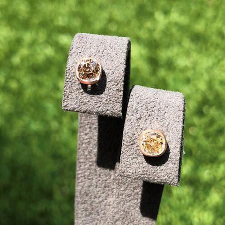 1.15ctw Mismatched Old Mine Cut Fancy Color Diamond Bezel Earrings