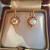 1.19ctw French Old European Cut Diamond Ear Pendant 7