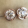 1.35ctw OEC Diamond Clover Earrings, Rose Gold 2