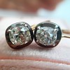 1.52ctw Antique Cushion Cut Collet Earrings 1