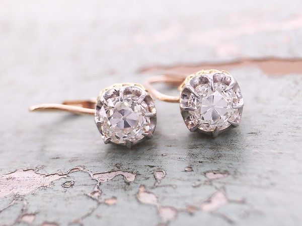 1.38ctw Antique Cushion Cut Diamond Earrings