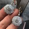 2.65ctw Vintage Old European Cut Diamond Cluster Earrings 5